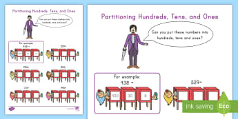 Partitioning Hundreds, Tens, and Ones Activity - Partitioning numbers, hundreds, tens, ones, place value