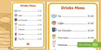 Pancake Cafe Drinks Role Play Menu - Pancake Day UK Feb 28th, shrove Tuesday, pancakes, lent, pancake day, role play