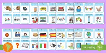 Visual Timetable for School US English/Spanish (Latin) - sen visual timetable, school visual timetable, simple visual timetable, sen visual timetable cards,