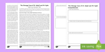 'Jekyll and Hyde' Comprehension Activity Sheet - worksheet Strange Case Nineteenth Century Literature, Gothic, Mirroring, duality