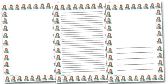 Woman and Computer Portrait Page Borders- Portrait Page Borders - Page border, border, writing template, writing aid, writing frame, a4 border, template, templates, landscape