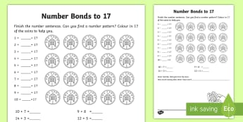 Number Bonds Within 20: Bonds to 17 Activity Sheet - NI, KS1, Numeracy, addition, mental maths, Worksheet, number bonds within 20, home learning, homewor