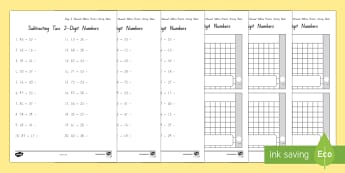 Stage 6 subtraction practice Activity Sheets - stage 6 maths, numeracy project, rounding and compensating, tidy numbers, worksheets, advanced addit