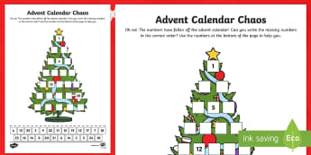 Advent Calendar Chaos Number Activity Sheet