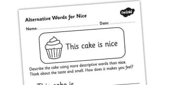 Alternative Words For Nice Worksheet - alternative words for nice, better words for nice, other words for nice, synonyms, synonym worksheet, ks2 literacy