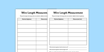 Wire Length Measurement Activity Sheet - wire, length, measurement, appliances, electricity, worksheet