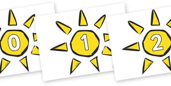 Numbers 0-31 on Weather Symbols (Sun) - 0-31, foundation stage numeracy, Number recognition, Number flashcards, counting, number frieze, Display numbers, number posters