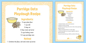 Porridge Oats Playdough Recipe - porridge oats, playdough, recipe