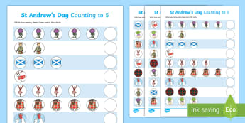 St Andrew's Day Counting to 5 Activity Sheet - worksheet, Patron Saint of Scotland, Scotland, Counting to 5, Numbers to 5,