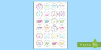 Editable I'm bubbling with Pride Feedback Stickers - Growth Mindset, learning, goals, progress, self-awareness, metacognitive, metacognition, reporting,