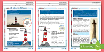 KS1 All About Lighthouses Differentiated Differentiated Reading Comprehension - navigate, boats, safety,coastline, safety