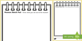 Museum Role Play Sketch Pad - museum, role play, sketch pad, role play sketch pad, museum role play, museum skectch pad, sketch pad for role play
