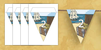 Counting in 2s to 50 Pirate Bunting - counting, count, 2s, 50, pirate, bunting, display