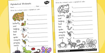 Minibeasts Cute Alphabet Ordering Worksheet - a-z, order, sort