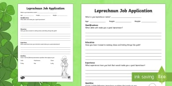 K-2 Leprechaun Job Application Activity Sheet - Saint Patrick's Day, leprechaun, green, quality, characteristic, job application, career, job