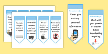 Online Internet Safety Bookmarks - bookmark, bookmark template, book mark, internet safety, I can use the internet safely, staying safe online, internet safety bookmark, page marker, reward, achievement, reading, reading award, gift, present