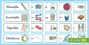 Blaue Schubladenetiketten für die Klassenraumgestaltung - Schilder, Organisation, Kunst, Malen, Zeichnen, Kunstmaterial, Bastelmaterial, ,German
