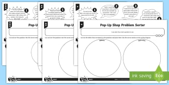 Differentiated Sorting Word Problems Activity Sheets - Addition, Subtraction, Multiplication and Division, add, subtract, multiply, divide, worksheet, venn