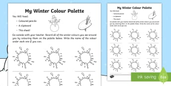 My Winter Colour Palette Activity Sheet - winter, season, observation, worksheet, activity sheet, colours, palette,Irish, worksheet