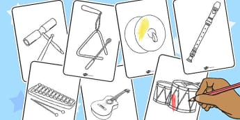 Coloriages : Les instruments de musique - coloriages, musique, music, instruments de musique, violon, guitare, percussion, piano, cycle 1, cycle 2, cycle 3, EYFS, KS1, KS2