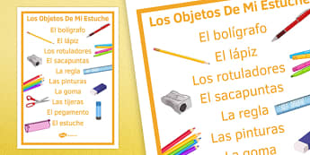 Los Objetos De Mi Estuche In My Pencil Case Spanish Display Poster - spanish, poster, display, pencil case items, estuche, clase