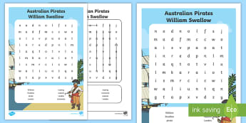 Australian Pirates - William Swallow Word Search - Australian Curriculum, History, Convicts, F-2, Australia