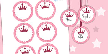 Princess Themed Birthday Party Name Tags - parties, labels, signs