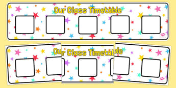 Multicoloured Stars Themed Horizontal Visual Timetable Display - multicoloured, stars, horizontal, visual timetable, display