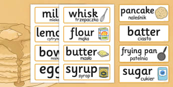 Pancake Day Recipe Word Cards Polish Translation - polish, recipe