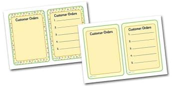 Tea Shop Role Play Order Forms - tea shop, role play, order forms, tea shop role play, tea shop order forms, role play order form, order form for tea shop