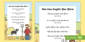 Mae Gan Ewythr Ifan Fferm Hwiangerddi Cymreig - Hwiangerddi Cymreig (Welsh Nursery Rhymes), cyfnod sylfaen, iaith, Cymraeg, Mae Gan Ewythr Ifan Ffer