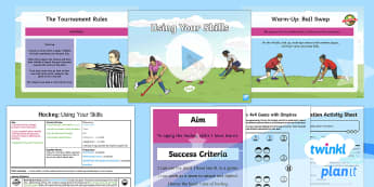 PlanIt PE Year 4 Hockey Lesson Pack Lesson 6 Using Your Skills - Hockey, pass, passing, stop, stopping, dribble, dribbling, tackle, tackling, attack, defend, one-on-