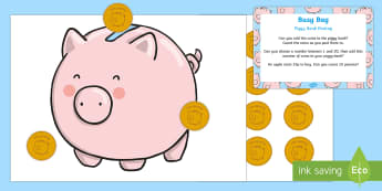 Piggy Bank Posting  Busy Bag Prompt Card and Resource Pack - counting, maths, money, 1 to 1 correspondence, penny, pennies
