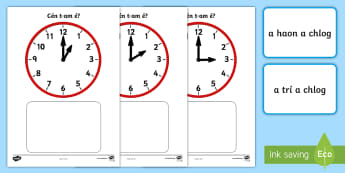 Clock Match O'Clock Game Gaeilge - ROI, Gaeilge, Irish, Time, Clocks, O'Clock, Am, An t-am, clog, Irish
