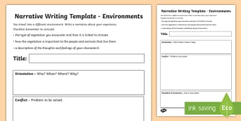 Environments Narrative Writing Template - Year 4, ACHASSK088, Australian Curriculum, Geography, language, Vocabulary, research, lesson, spelli