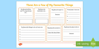 KS1 These Are a Few of My Favourite Things Activity Sheet - first week back, new class activities, choices, all about me