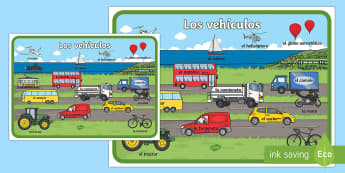 Large Transport Display Poster Spanish  - Spanish, Vocabulary, KS2, transport, large, display, poster,Spanish, vehicles, car, lorry, boat, tra
