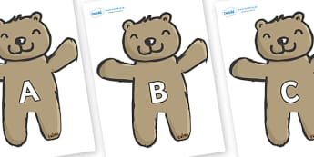 A-Z Alphabet on Teddy Bears - A-Z, A4, display, Alphabet frieze, Display letters, Letter posters, A-Z letters, Alphabet flashcards