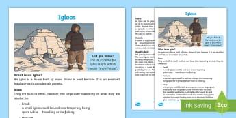 Igloo Fact File - Canada's Arctic, Nunavut, Inuit people, igloo, snow, shelter, snow home, snow hut.