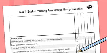 2014 Curriculum Year 1 English Writing Assessment Group Checklist