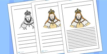 Elizabeth I Writing Frame - elizabeth I, elizabeth 1st, writing frame, writing template, writing guide, writing aid, line guide, writing guide, themed aid