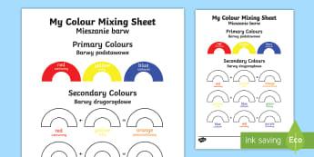 Colour Mixing Activity Sheet English/Polish - Colour Mixing Activity Sheet - colour, mixing, activity, sheet, colourmixingn, worksheet,Polish-tran