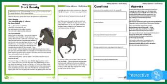 KS2 Black Beauty Mother's Day Inference Differentiated Go Respond Activity Sheets - UKS2, LKS2, Key Stage Two, Key Stage 2, Black Beauty, Draw inferences such as inferring characters