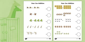 Addition Sheet to Support Teaching on Dear Zoo - dear zoo, addition, sheet, dear zoo worksheet, addition worksheet, numeracy worksheet, numeracy, maths, adding, dear zoo addition