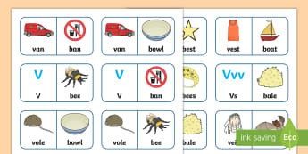 'v' and 'b' Minimal Pair Dominoes - minimal pairs, labio-dentals, fricatives, stopping, speech sounds, b, v, speech, speech sounds, spee