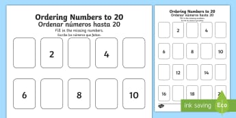 Missing Numbers to 20 Activity English/Spanish - Priority Number Ordering Sheets, numbers, 20, twenty, sats, ks1, practice, maths, counting, EAL, Spa