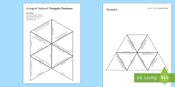 Ecological Fieldwork Tarsia Triangular Dominoes - Tarsia, gcse, biology, ecology, field study, field work, transect, transects, quadrat, quadrats, sam, plenary activity
