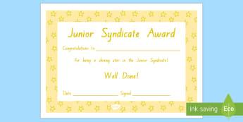 Junior Syndicate Star Certificates - Junior Syndicate, Celebration, Celebrating Learning, Certificates, awards, reward