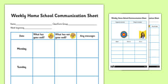 Weekly Home School Communication Sheet Secondary - Home, School, Communciation, SEN, Special, Educational, Needs, Additional, Transition, Parents, Carers , secondary, ks3