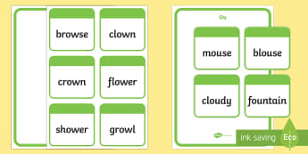 ou and ow word sort - - ou and ow, copmpare, sort, phase 5, phonics,